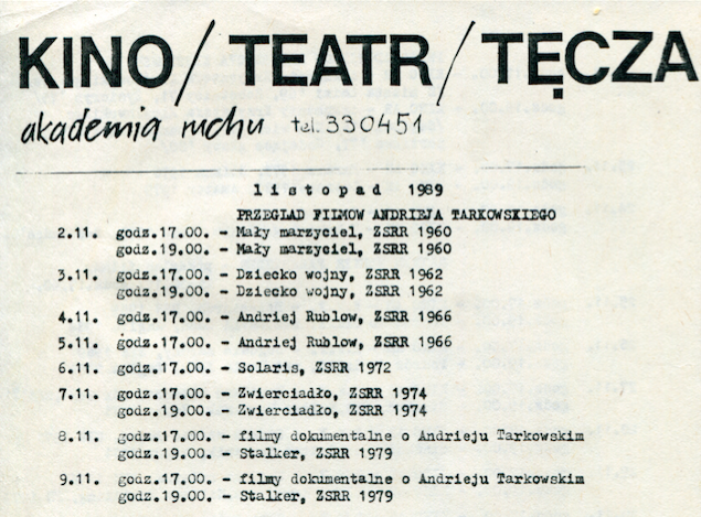 Repertoire of the Tęcza theatre-cinema, Akademia Ruchut archive, in escrow of Zbigniew Raszewski Theatre Instiute in Warsaw.