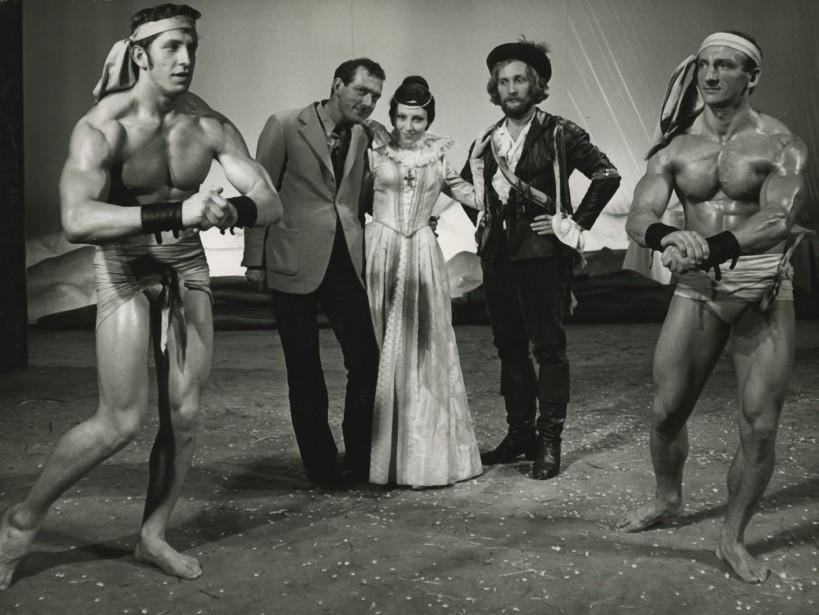 Konrad Swinarski, Anna Polony and Wojciech Pszoniak during rehearsals for the <i>Wszystko dobre, co się dobrze kończy</i> [<i>All's Well That Ends Well</i>] 1971, Stary Theatre in Kraków, photo: Wojciech Plewiński