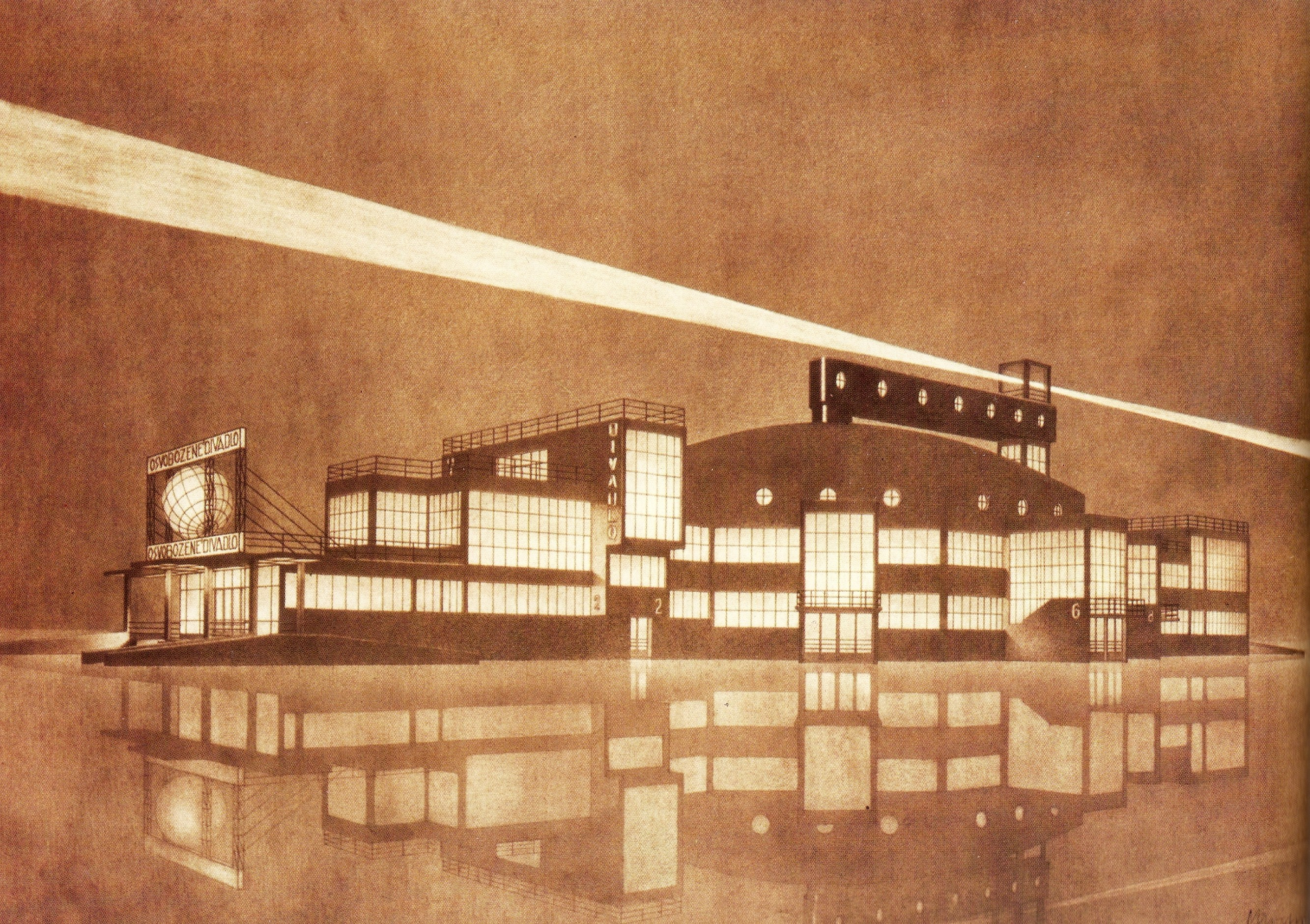 The unrealized design of the Liberated Theatre in Prague (1926-1927), Josef Chochol. Source: Theatre Architecture in Central Europe.