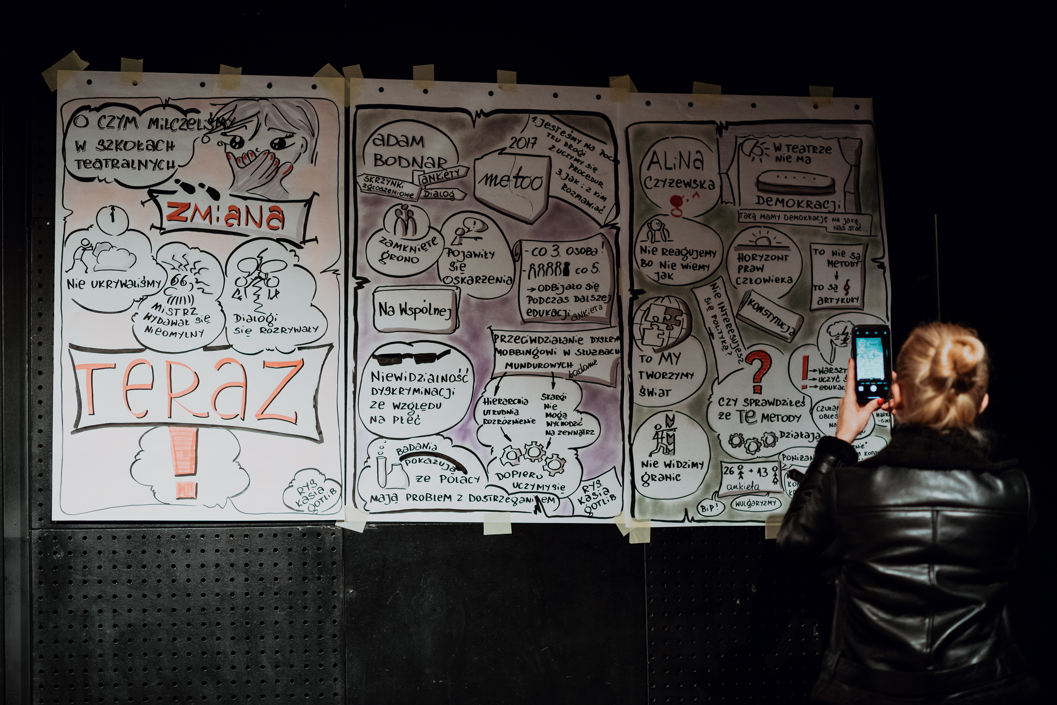 Drawings by Kasia Gotlib created during the 'Change-now' conference, Teatr Ochoty, Warsaw, 7 October 2019, photo: Karolina Jóźwiak