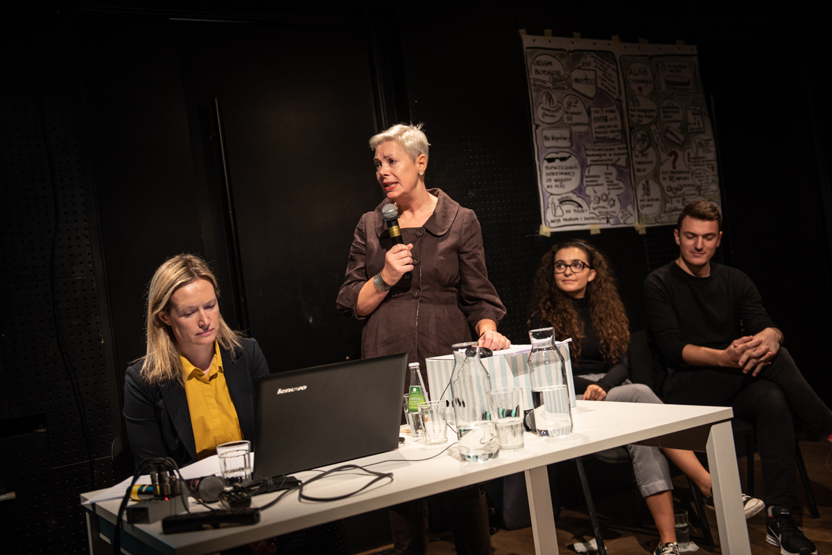 From the left: Vanessa Coffey, Hilary Jones, Mccallister Selva and Thomas Zachar during the 'Change - now!' conference, Teatr Ochoty, Warsaw, 7 October 2019, photo: Marta Ankiersztejn